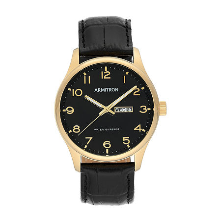 Armitron Mens Black Leather Strap Watch-20/5355bkgpbk, One Size