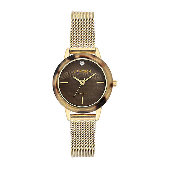 Armitron Womens Diamond Accent Gold Tone Stainless Steel Bracelet Watch-75/5723bmgpto