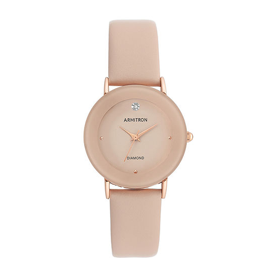 Armitron Womens Diamond Accent Pink Leather Strap Watch-75/5739bhrgbh