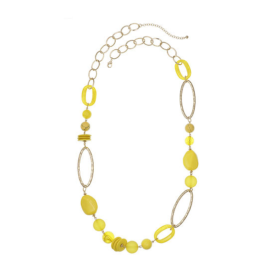 EL by Erica Lyons Yellow 39 Inch Cable Beaded Necklace