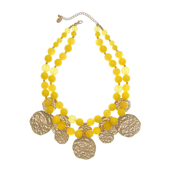 EL by Erica Lyons Yellow 18 Inch Beaded Necklace