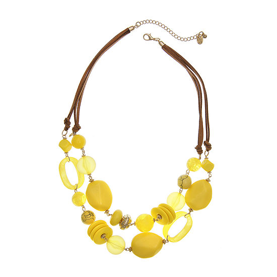 EL by Erica Lyons Yellow 22 Inch Beaded Necklace