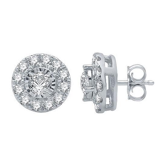1 CT. T.W. Genuine White Diamond 10K White Gold 10.2mm Stud Earrings
