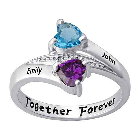 Personalized Womens Diamond Accent Crystal Sterling Silver Heart Cocktail Ring