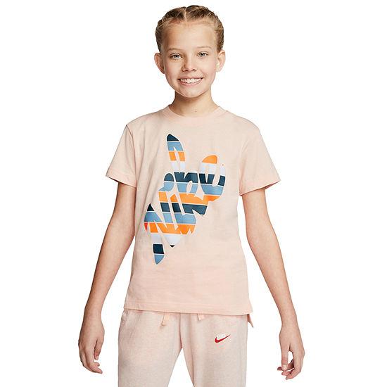 Nike Big Girls Round Neck Short Sleeve Graphic T-Shirt