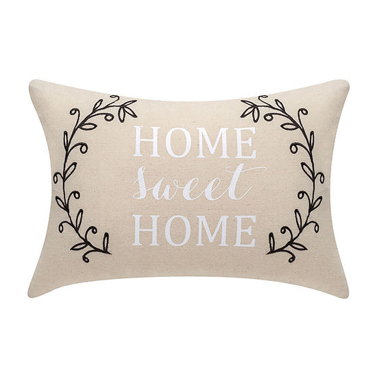 Home Sweet Home Embroidered Rectangular Throw Pillow
