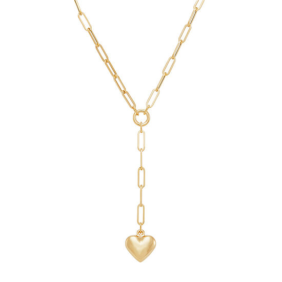 Womens 10K Gold Heart Y Necklace