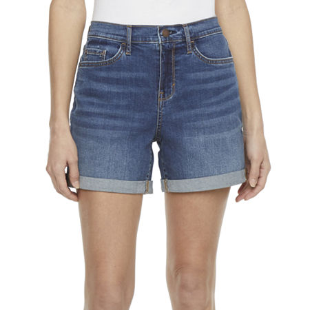 1980s Clothing, Fashion | 80s Style Clothes a.n.a. Womens High Rise 5 Roll Cuff Denim Short 18  Blue $15.00 AT vintagedancer.com