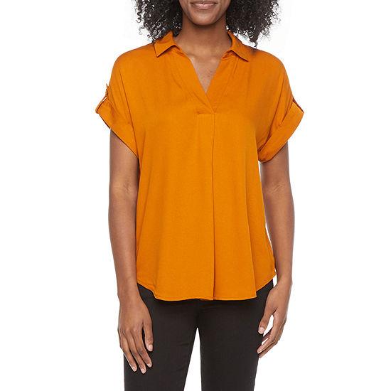 Liz Claiborne Womens Short Sleeve Regular Fit Button-Down Shirt