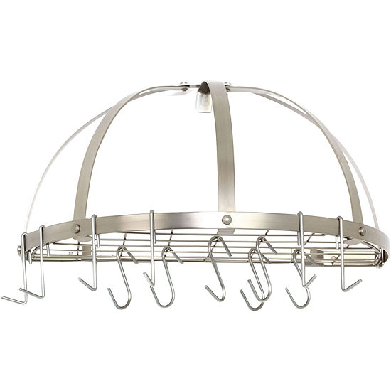 Old Dutch International® Satin Nickel Half-Round Pot Rack + 12 Hooks