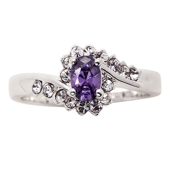 City X City Pure Silver Plated Purple Clear Crystal Ring