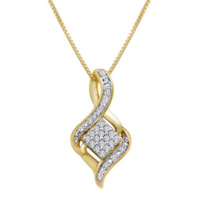 1/10 CT. T.W. Diamond Cluster Pendant Necklace