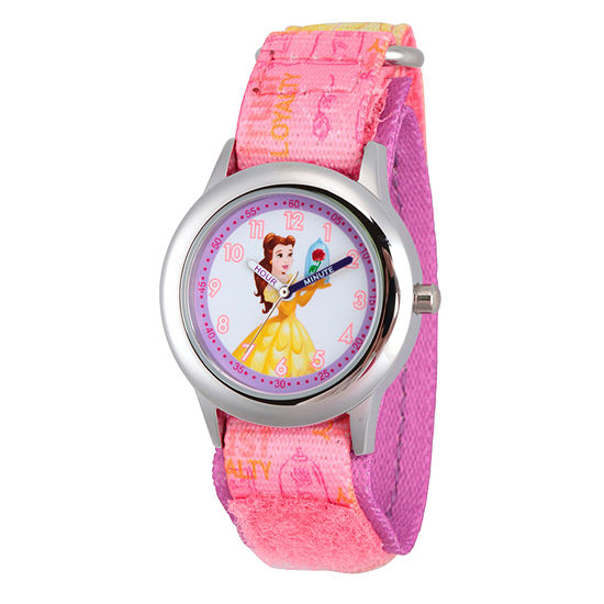 Beauty and the Beast Girls Pink Strap Watch-Wds000059