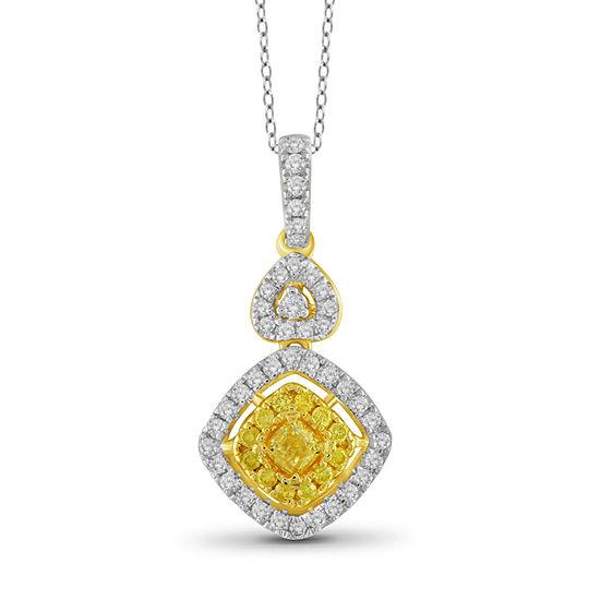 Womens 1/2 CT. T.W. Genuine Yellow Diamond 14K Gold Pendant Necklace