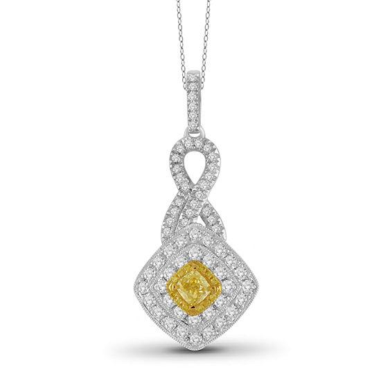 Womens 1 CT. T.W. Genuine Yellow Diamond 14K Gold Pendant Necklace