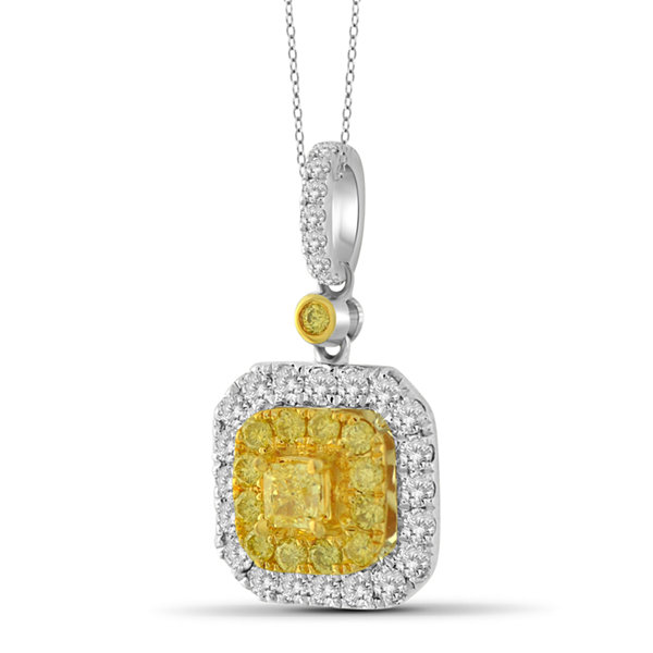 Womens 1 CT. T.W. Yellow Diamond 14K Gold Pendant Necklace