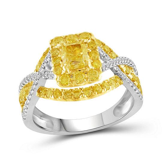 Womens 1 1 2 Ct Tw Genuine Yellow Diamond 14k Gold Halo Bridal Set