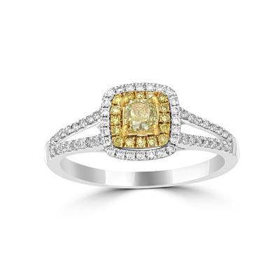 Womens 3/4 CT. T.W. Color Enhanced Yellow Diamond 14K Gold Halo Ring