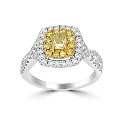 Womens 1 1/2 CT. T.W. Color Enhanced Yellow Diamond 14K Gold Halo Ring
