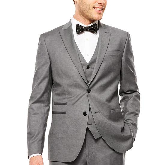 J.Ferrar Stretch Gray Sharkskin Suit Jacket