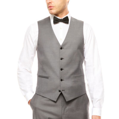 JF J.Ferrar® Stretch Gray Sharkskin Vest Slim Fit