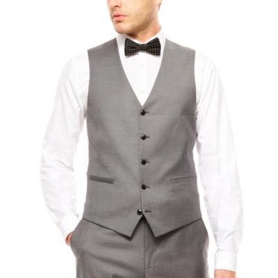 J.Ferrar Stretch Gray Sharkskin Vest Slim Fit