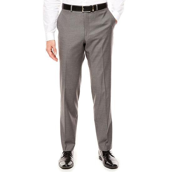 Jf J Ferrar Mens Stretch Gray Sharkskin Slim Fit Pants
