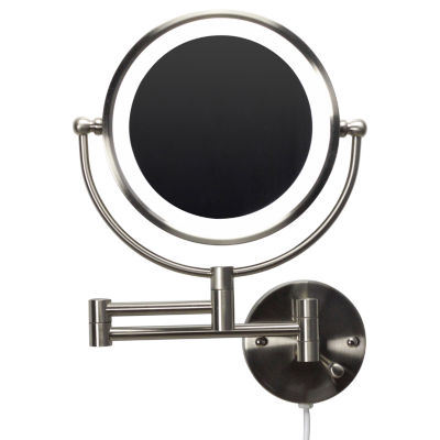 20.83-in. W Round Brass-LED Wall Mount Magnifying Mirror In Brushed Nickel Color