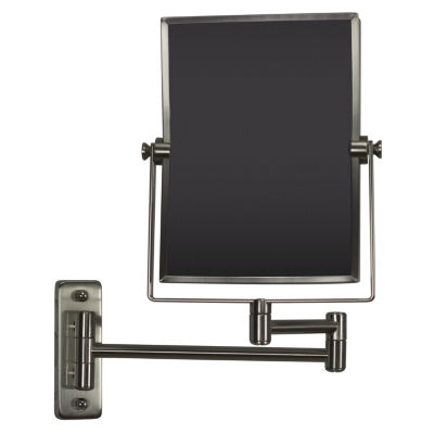 16.36-in. W Rectangle Brass-Mirror Wall Mount Magnifying Mirror In Brushed Nickel Color