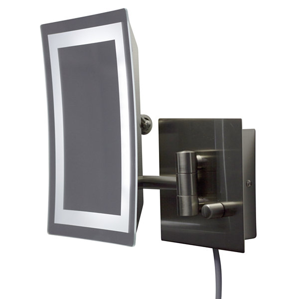 17.44-in. W Rectangle Brass-LED Wall Mount Magnifying Mirror In Brushed Nickel Color