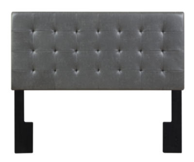 Faux Leather Biscuit Tuft Full / Queen Upholstered Headboard In Lummus Steel