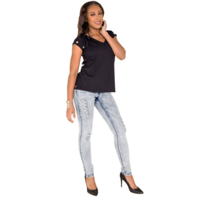 Poetic Justice French Terry Knit Grommet Trim Top