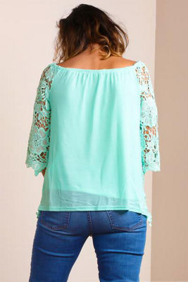 Plus Off Shoulder Crochet Blouse