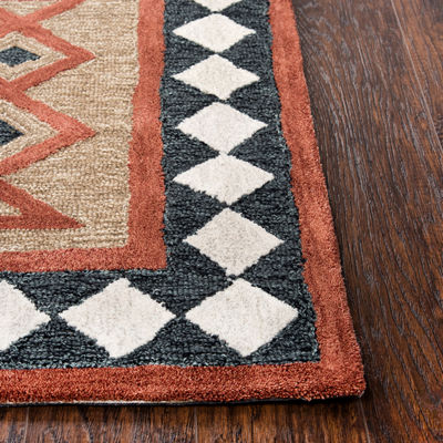 Rizzy Home Mesa Collection Ainslee Hand-Tufted Diamond Area Rug