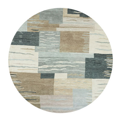 Rizzy Home Leone Collection Theadora Hand-Tufted Patchwork Round Area Rug