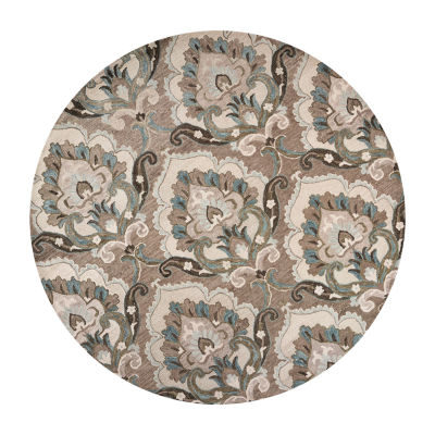 Rizzy Home Leone Collection Xenia Hand-Tufted Floral Round Area Rug