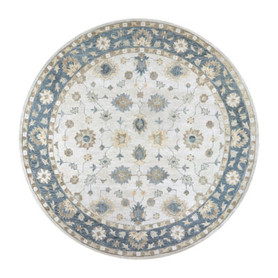 Rizzy Home Leone Collection Zaro Hand-Tufted Floral Round Area Rug
