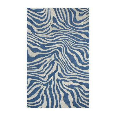 Rizzy Home Andrew Charles-Lancaster Collection Raven Hand-Tufted Zebra Area Rug