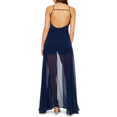 Premier Amour Sleeveless Embroidered Walk Thru Maxi Dress