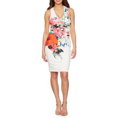 Premier Amour Sleeveless Floral Sheath Dress