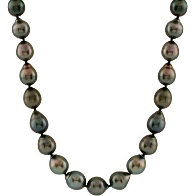 Splendid Pearls Womens 9MM Cultured Tahitian Pearl 14K Gold Strand Necklace