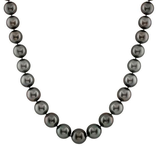 Splendid Pearls Womens 11MM Cultured Tahitian Pearl 14K Gold Strand Necklace