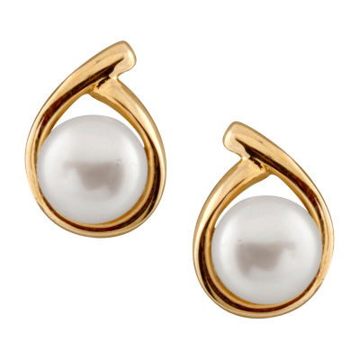 Splendid Pearls Cultured Freshwater Pearl 14K Gold 13mm Stud Earrings