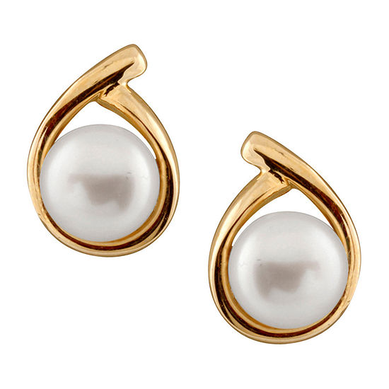 Splendid Pearls Cultured Freshwater 14K Gold 13mm Stud Earrings