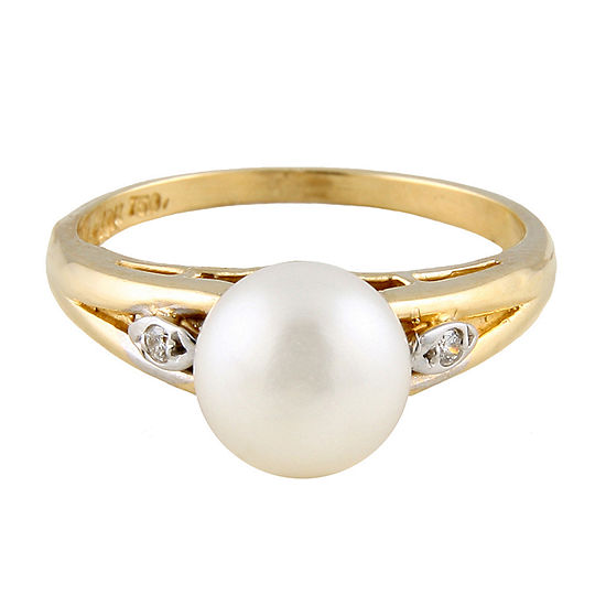 Splendid Pearls Womens Diamond Accent 6mm White Cultured Freshwater Pearl 14k Gold Cocktail Ring