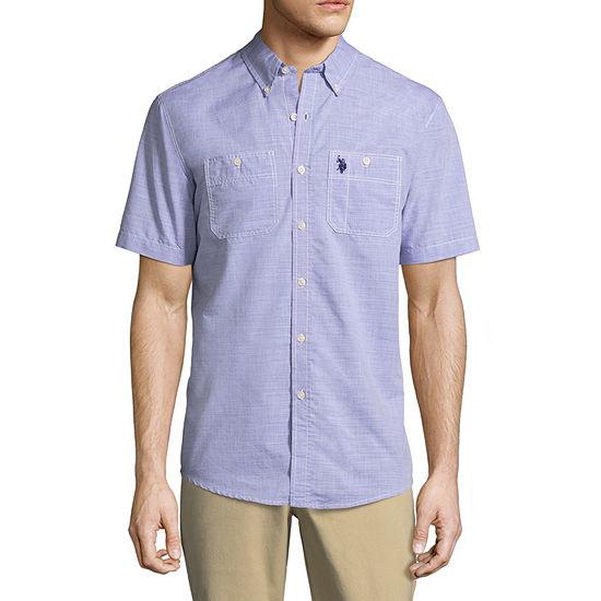U.S. Polo Assn. Mens Y Neck Short Sleeve Button-Down Shirt