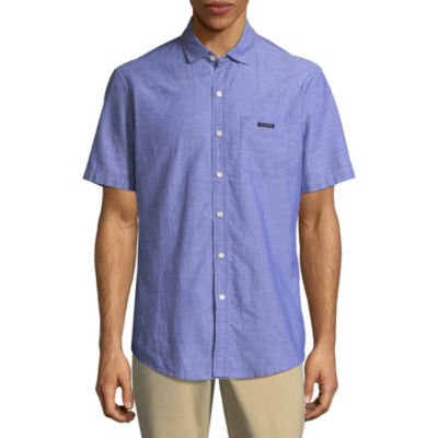U.S. Polo Assn. Short Sleeve Dobby Oxford Button-Front Shirt