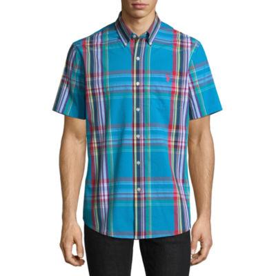 U.S. Polo Assn. Short Sleeve Plaid Button-Front Shirt