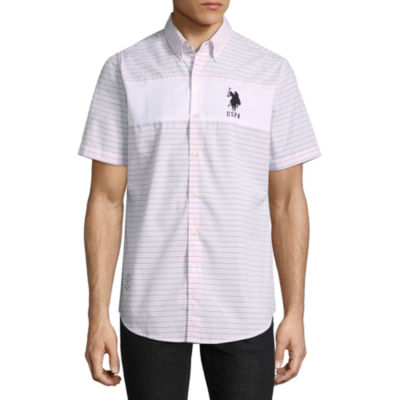 U.S. Polo Assn. Short Sleeve Stripe Button-Front Shirt