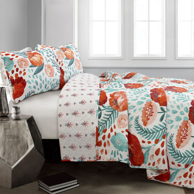 Lush Decor Poppy Garden Quilt 3pc Set